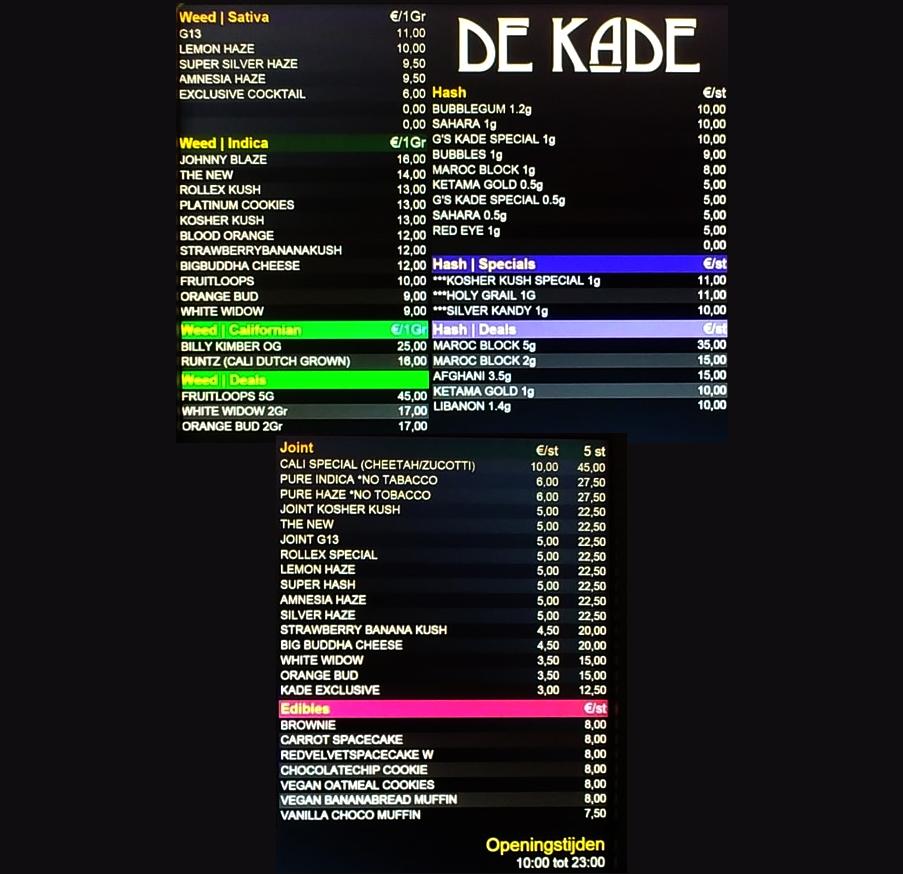 coffeeshop menu