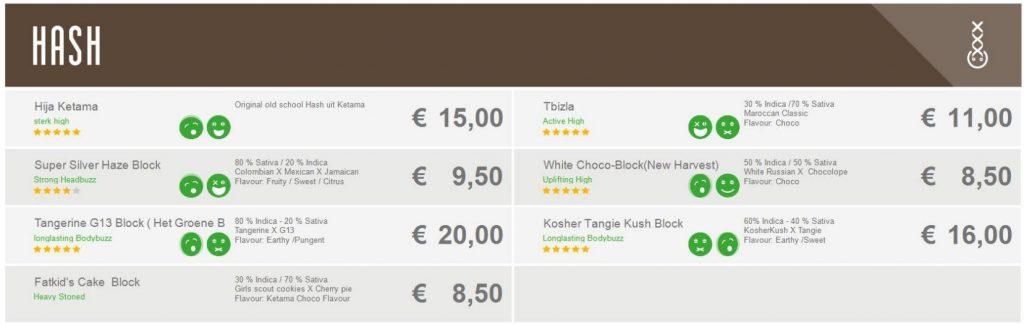 Coffeeshop menu boerejongens